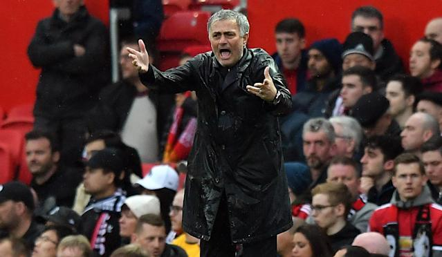 Manchester United manager Jose Mourinho was left drenched and miserable at Old Trafford