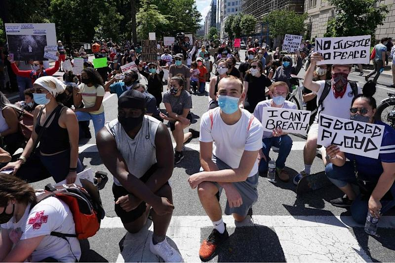 Protesters in Lafayette Square near the White House in Washington DC, 31 May 20