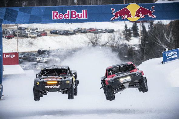 (L-R) Rob MacCachren and R.J. Anderson race the course during practice at Red Bull Frozen Rush at Sunday River in Newry, Maine, USA on 07 January 2015. // Garth Milan/Red Bull Content Pool // P-20150108-00018 // Usage for editorial use only // Please go to www.redbullcontentpool.com for further information. //