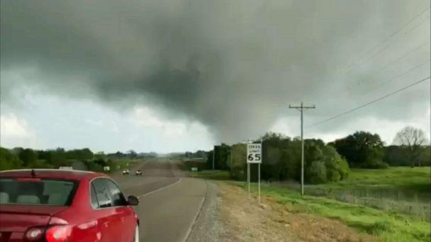 PHOTO: This image made from video provided by Thomas Marcum shows a tornado seen from State Highway 48 in Durant, Okla., Wednesday, April 22, 2020.  (Thomas Marcum/AP)