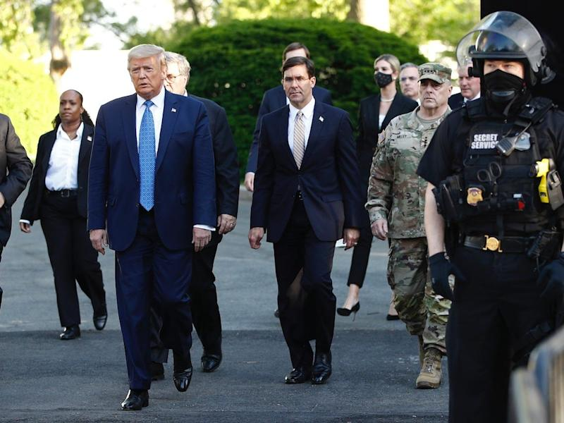 President Donald Trump departs the White House to visit outside St. John's Church, Monday, June 1, 2020, in Washington.