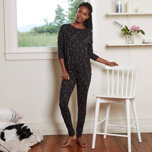 Women's Star Print Cozy Long Sleeve Top and Leggings Pajama Set - Stars Above(TM) Black