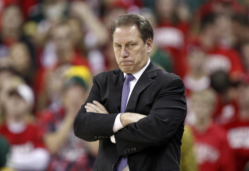 Michigan State coach Tom Izzo reacts during the second half of Wisconsin's 82-56 win over Michigan State in an NCAA college basketball game Sunday, Feb. 6, 2011, in Madison, Wis. (AP Photo/Andy Manis)