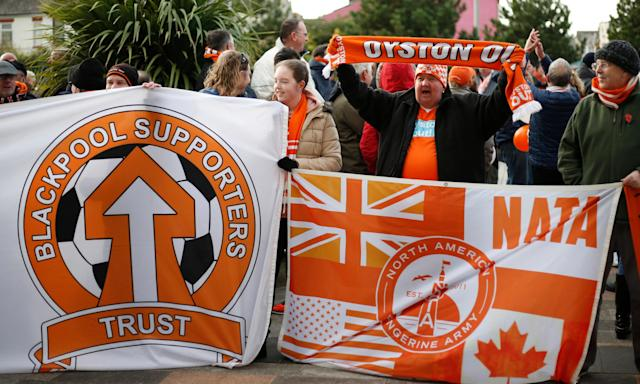 Blackpool fans protest outside Bloomfield Road before a match last year.