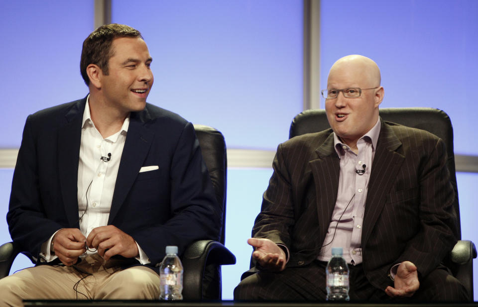 """Actors, writers, and executive producers David Walliams, left, and Matt Lucas, from the upcoming HBO comedy series """"Little Britain USA"""",  speak during the Television Critics Association summer press tour in Beverly Hills, Calif. on Thursday, July 10, 2008.  (AP Photo/ Matt Sayles)"""