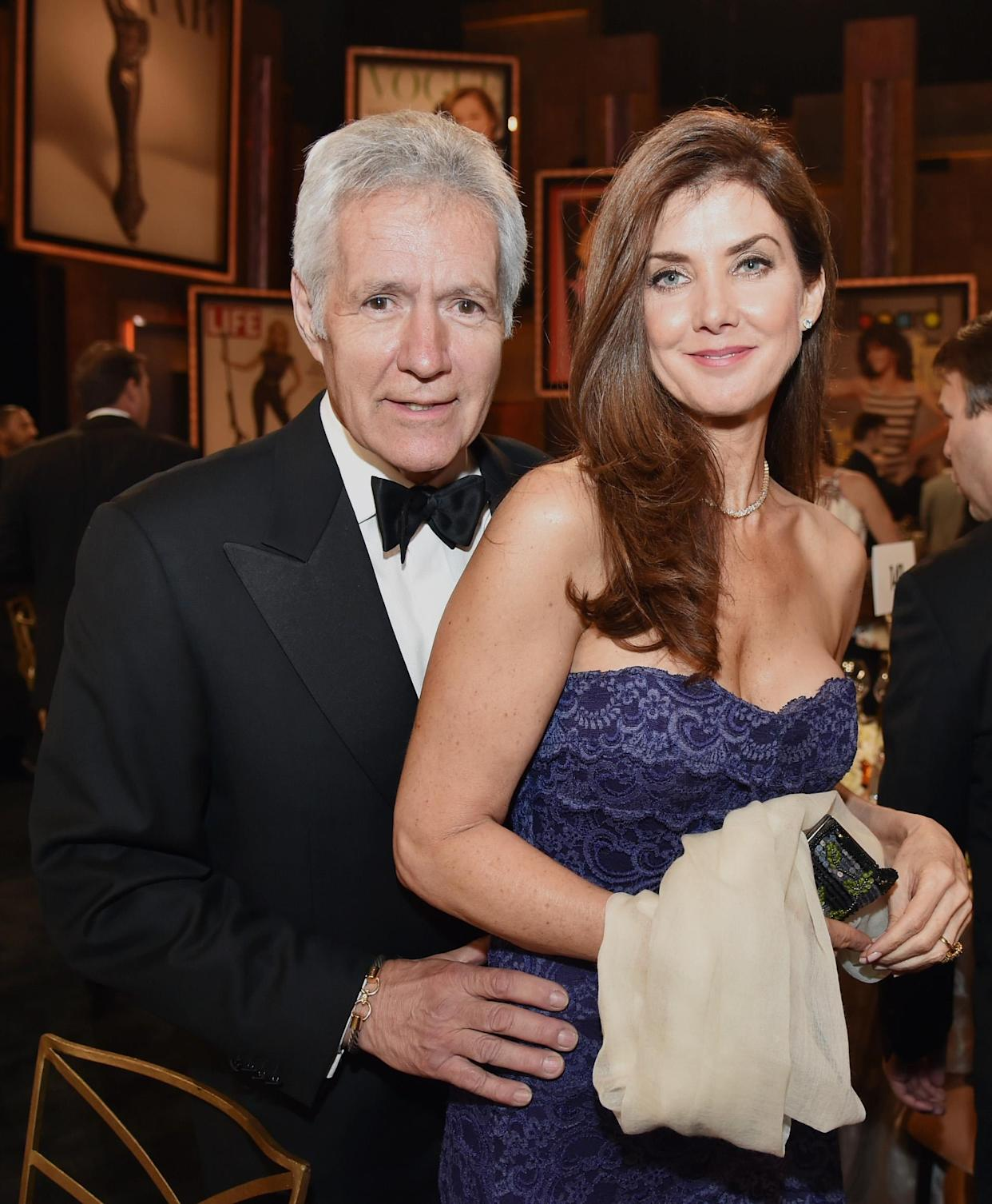 HOLLYWOOD, CA - JUNE 04: TV personality Alex Trebek (L) and Jean Trebek attend the 2014 AFI Life Achievement Award: A Tribute to Jane Fonda at the Dolby Theatre on June 5, 2014 in Hollywood, California. Tribute show airing Saturday, June 14, 2014 at 9pm ET/PT on TNT.  (Photo by Kevin Winter/WireImage)