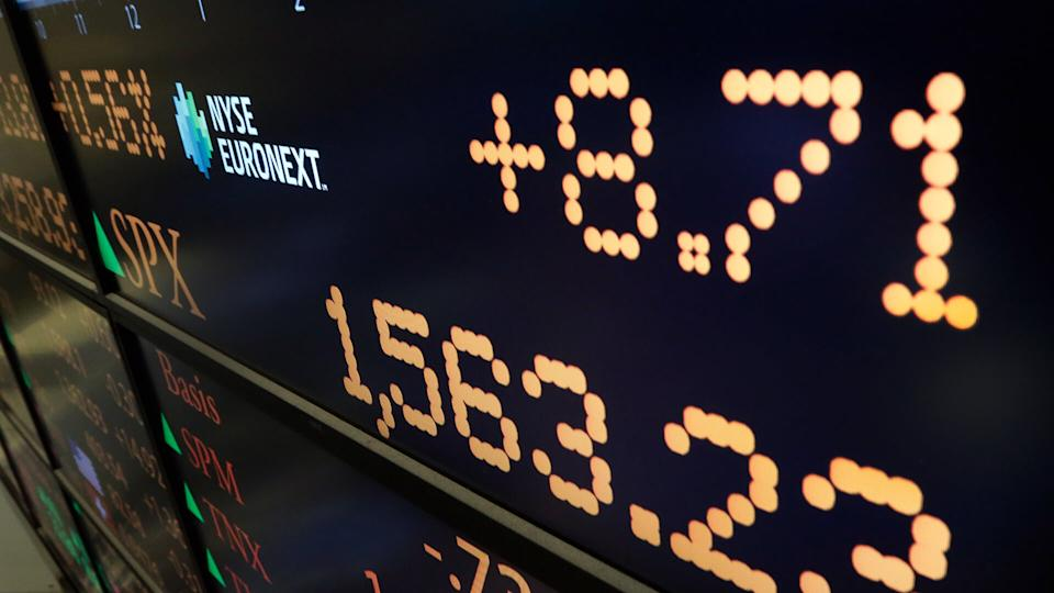 A board on the floor on the floor of the New York Stock Exchange shows the closing number for the S&P 500 index, in New York.