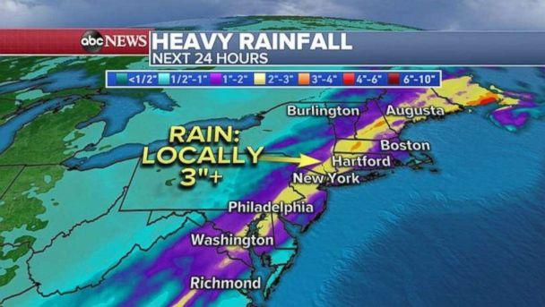 PHOTO: As much as 3 inches of rain could fall locally in parts of the Northeast. (ABC News)