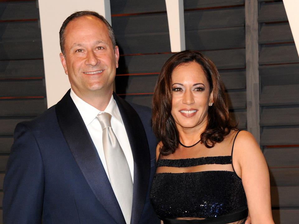 """Attorney Douglas Emhoff (L) and California Attorney General Kamala Harris attend the 2015 Vanity Fair Oscar Party hosted by Graydon Carter at Wallis Annenberg Center for the Performing Arts on February 22, 2015 in Beverly Hills, California. <p class=""""copyright"""">Jon Kopaloff/FilmMagic</p>"""