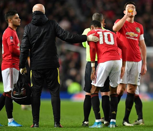 Missing Marcus: Manchester United must cope without top scorer Marcus Rashford for at least six weeks (AFP Photo/Paul ELLIS)