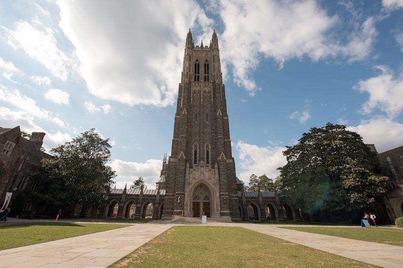 DURHAM, NC - MARCH 04: A general view of the Duke University Chapel on the Duke University campus on March 4, 2016 in Durham, North Carolina. (Photo by Lance King/Getty Images)