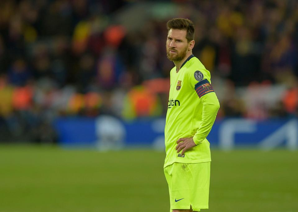 LIVERPOOL, ENGLAND - MAY 07: Lionel Messi of FC Barcelona looks dejected after the UEFA Champions League Semi Final second leg match between Liverpool and Barcelona at Anfield on May 7, 2019 in Liverpool, England. (Photo by TF-Images/Getty Images)