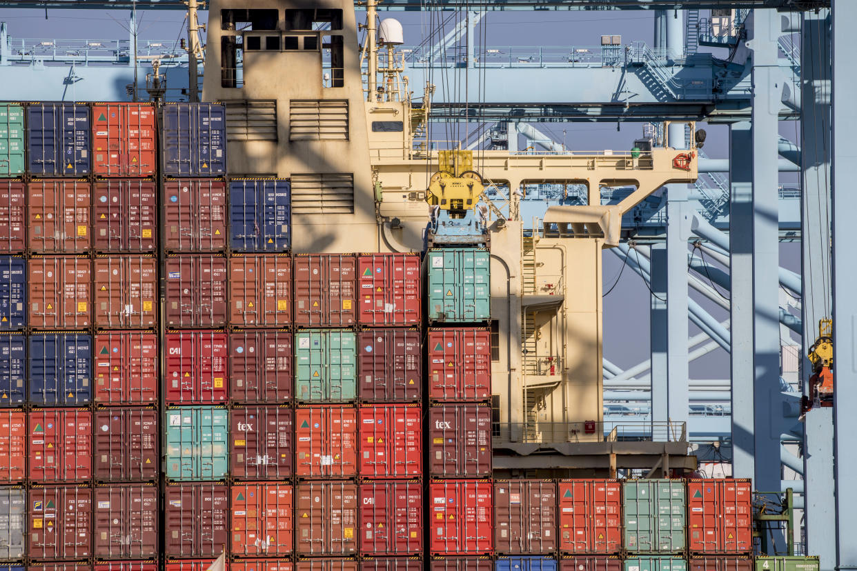 Cargo containers at the Port of Los Angeles. (Courtesy of the Port of Los Angeles)