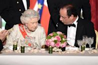 """<p>Both royals and non-royals in the presence of the Queen, will have to stop eating when she does. According to Darren McGrady, the Queen's former personal chef: """"As soon as [the Queen] put down her knife and fork from the first course, [the palace steward] would hit the button for the lights to signal the footmen to come in. The course was over and they'd start clearing — even if you hadn't finished, they'd be clearing the table.""""</p>"""