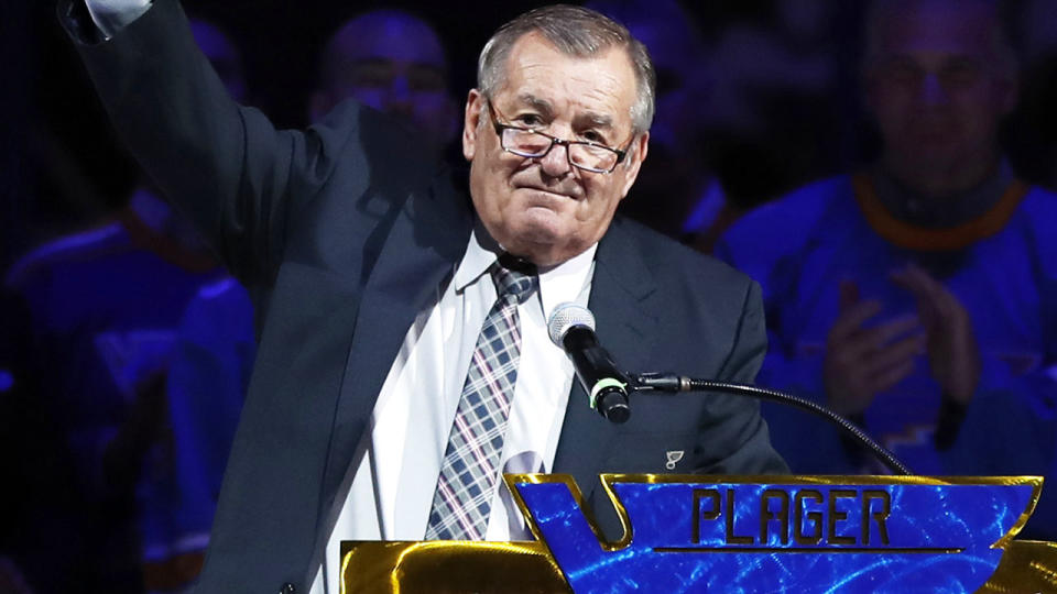 Bob Plager, pictured here during a ceremony to retire his number.