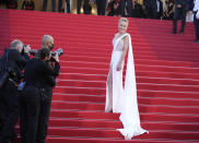 Sharon Stone poses for photographers upon arrival at the awards ceremony and premiere of the closing film 'OSS 117: From Africa with Love' at the 74th international film festival, Cannes, southern France, Saturday, July 17, 2021. (AP Photo/Vadim Ghirda)