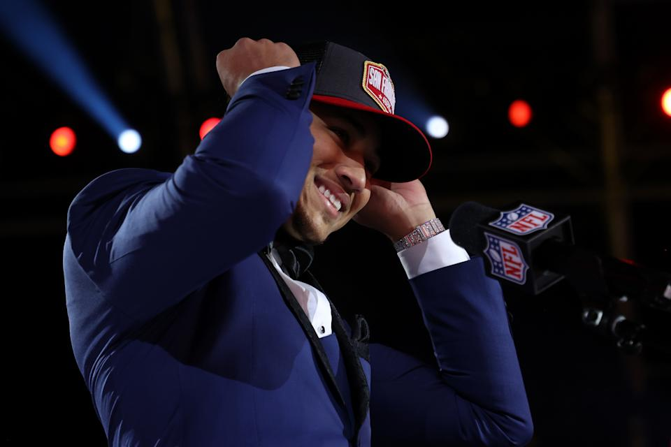 Credit Kyle Shanahan, John Lynch and the 49ers for being both aggressive and tight-lipped in drafting Trey Lance. Now they just need him to work out. (Photo by Gregory Shamus/Getty Images)