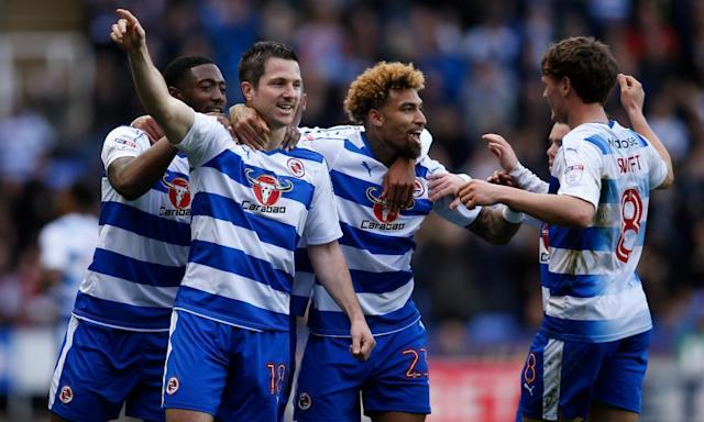 "<span class=""element-image__caption"">Reading's Yann Kermorgant, second left, celebrates with team-mates after scoring against Leeds United in the Championship match at the Madejski Stadium.</span> <span class=""element-image__credit"">Photograph: Andrew Couldridge/Reuters</span>"