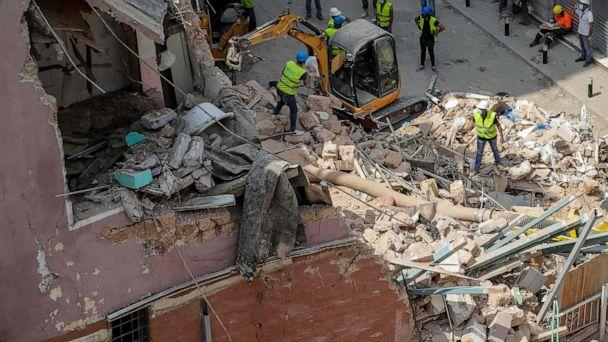 PHOTO: Rescuers search at the site of a collapsed building after getting signals there may be a survivor under the rubble, in Beirut, Lebanon, Saturday, Sept. 5, 2020. (Hassan Ammar/AP)