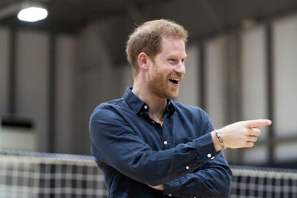 <p>Prince Harry speaks with wheelchair rugby athletes as he visits the Nippon Foundation Para Arena.</p>