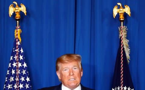 <span>Trump addressed the media about the attack from Florida yesterday</span> <span>Credit: TOM BRENNER/REUTERS </span>