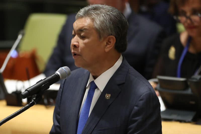 FILE PHOTO: Deputy Prime Minister Ahmad Zahid Hamidi of Malaysia speaks during a high-level meeting on addressing large movements of refugees and migrants at the United Nations General Assembly in New York
