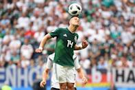 <p>Mexico's forward Javier Hernandez heads the ball during the Russia 2018 World Cup Group F football match between Germany and Mexico at the Luzhniki Stadium in Moscow on June 17, 2018. (Photo by Kirill KUDRYAVTSEV / AFP) </p>