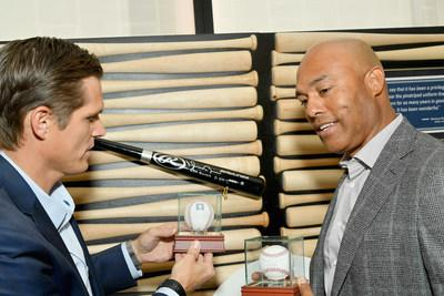 "Steve Wymer, eBay's Chief Communications Officer and Mariano Rivera peruse items from the new ""eBay x Mariano Rivera"" collection, exclusively available on eBay."