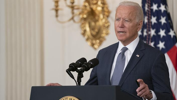 U.S. President Joe Biden speaks before signing an executive order in the State Dining Room of the White House in Washington, D.C., U.S., on Friday, July 9, 2021. Biden is pushing for wider competition across the U.S. economy, targeting three industrial sectors where his administration believes consolidation has led to higher prices in the sweeping executive order covering agriculture, technology and drugs. Photographer: Alex Edelman/CNP/Bloomberg via Getty Images