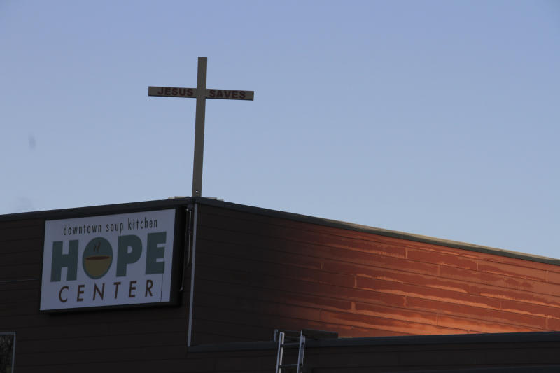 This Nov. 1, 2018, file photo shows the Hope Center women's shelter in downtown Anchorage, Alaska. A federal judge in Alaska will hear arguments Friday, Jan. 11, 2019, in a lawsuit filed by the faith-based shelter against the city over a requirement that it accept transgender women. Alliance Defending Freedom, a conservative Christian law firm, is seeking a preliminary injunction to stop the city from applying its gender identity law to the Hope Center shelter. (AP Photo/Mark Thiessen,File)