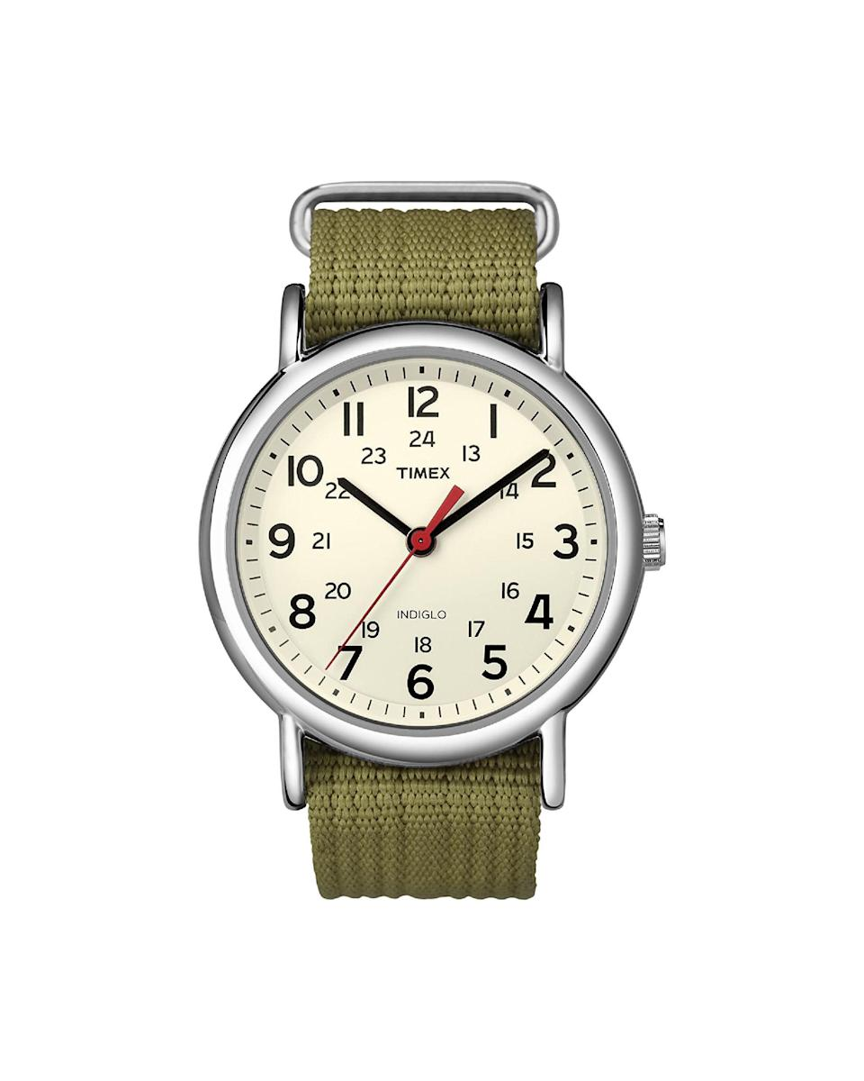 "<p><strong>Timex</strong></p><p>amazon.com</p><p><strong>$39.75</strong></p><p><a href=""https://www.amazon.com/dp/B004VR9HP2?tag=syn-yahoo-20&ascsubtag=%5Bartid%7C10058.g.3961%5Bsrc%7Cyahoo-us"" rel=""nofollow noopener"" target=""_blank"" data-ylk=""slk:Shop Now"" class=""link rapid-noclick-resp"">Shop Now</a></p><p>A Gorpcore staple that plays well with cashmere.</p>"