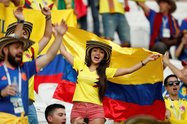 Soccer Football - World Cup - Group H - Poland vs Colombia - Kazan Arena, Kazan, Russia - June 24, 2018 Colombia fan inside the stadium before the match REUTERS/John Sibley