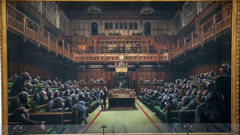 Banksy Shocks Again as His Chimp Parliament Painting Sells for $12 Million at Sotheby's