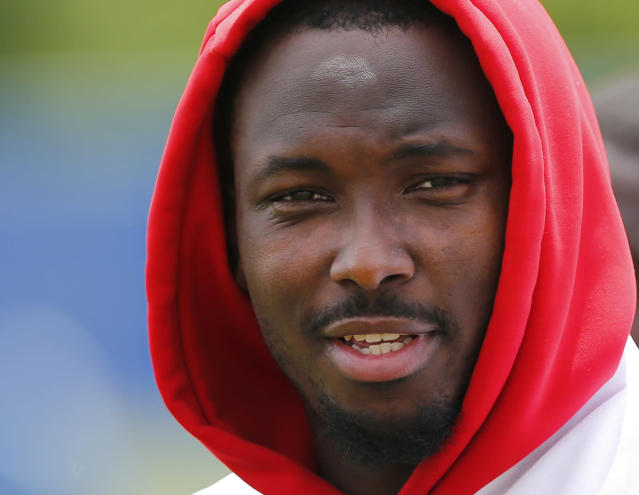 FILE - In this June 12, 2019, file photo, then-Buffalo Bills running back LeSean McCoy (25) walks off the field following an NFL football team practice in Orchard Park N.Y. The Kansas City Chiefs announced the signing of two-time All-Pro running back LeSean McCoy on Monday, Sept. 2, 2019, two days after he was released by Buffalo. (AP Photo/Jeffrey T. Barnes, File)