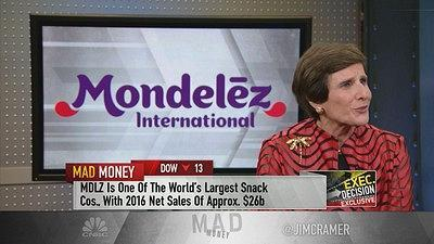 Jim Cramer sat down with Mondelez CEO Irene Rosenfeld to discuss whether her snack food stock is poised for a breakout.