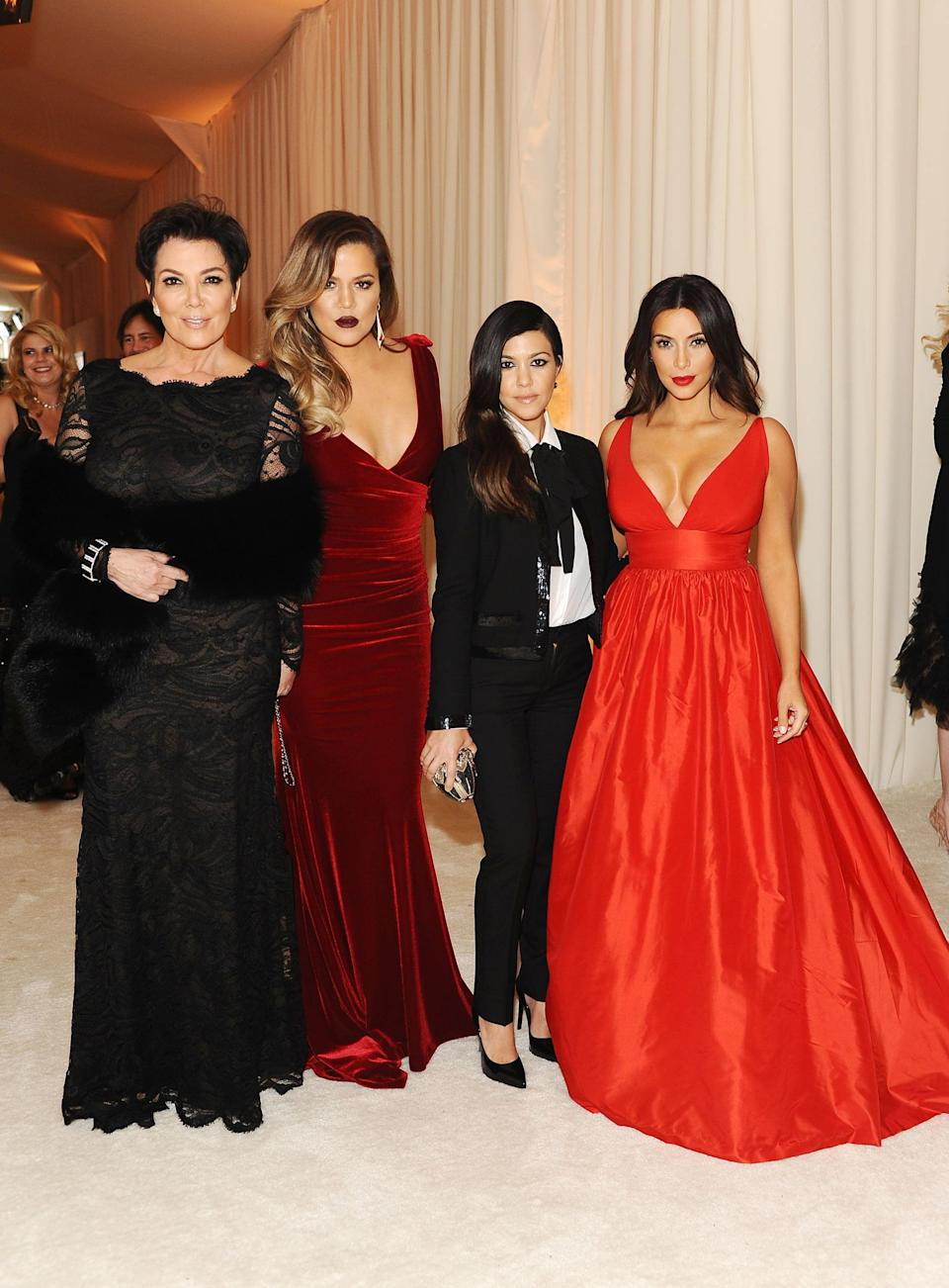 <p>2014 was also the year where the family received an invitation to Elton John's Oscar party wearing gowns with plunging necklines and pantsuits. </p>