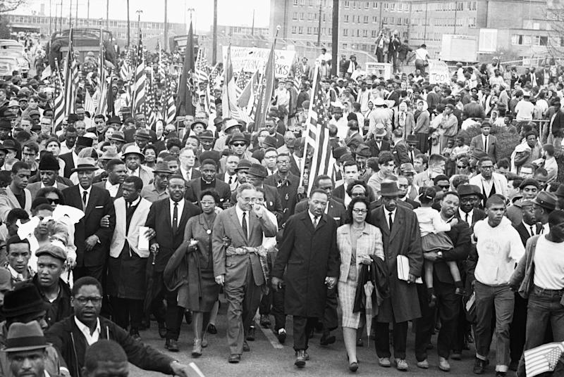 Martin Luther King Jr. with his wife, Coretta, during the Selma-to-Montgomery marches in Alabama in 1965. (Photo: Bettmann via Getty Images)