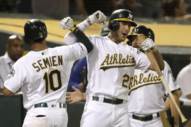 Oakland Athletics' Marcus Semien (10) celebrates with Matt Olson, right, after hitting a home run against the Texas Rangers during the fifth inning of a baseball game Saturday, Sept. 21, 2019, in Oakland, Calif. (AP Photo/Ben Margot)