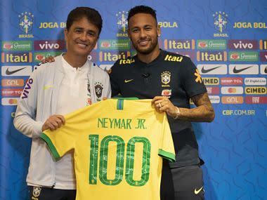 Neymar becomes youngest to 100 Brazil caps in friendly draw with Senegal in Singapore