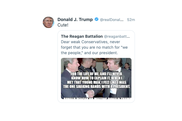 President Trump shared on Twitter a fake quote attributed to former President Ronald Reagan. (Screengrab: realDonaldTrump via Twitter)
