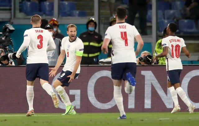 Kane (second left) scored a fourth-minute opener in England's comfortable victory over Ukraine (Nick Potts/PA).