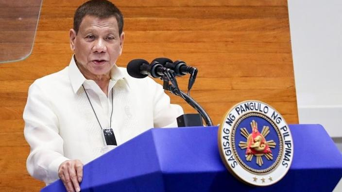 Mr Duterte giving a state of the nation address earlier this week, before his latest comments