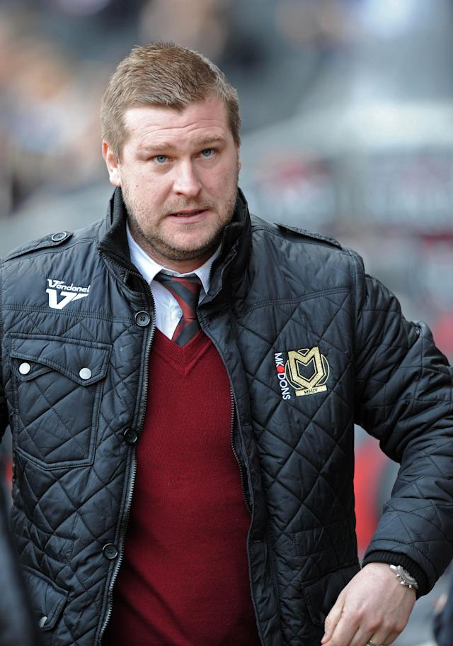 MK Dons' manager Karl Robinson, seen at the MK Stadium in Milton Keynes on February 16, 2013 (AFP Photo/Olly Greenwood)
