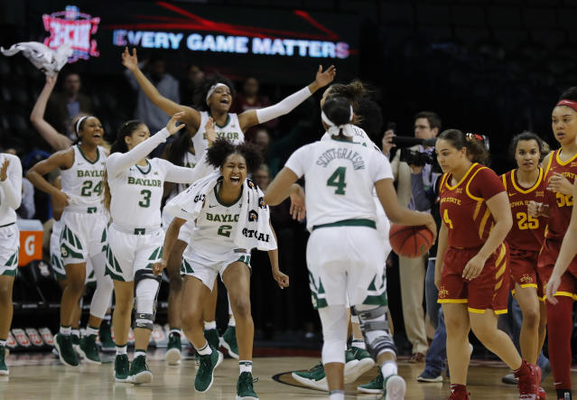 Baylor celebrates after defeating Iowa State during the Big 12 women's conference tournament championship in Oklahoma City, Monday, March 11, 2019. Baylor won 67-49. (AP Photo/Alonzo Adams)