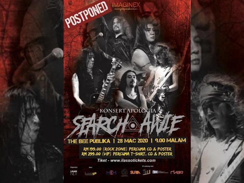 "Rock legends Search and Awie have decided to postpone their ""Apologia"" concert."