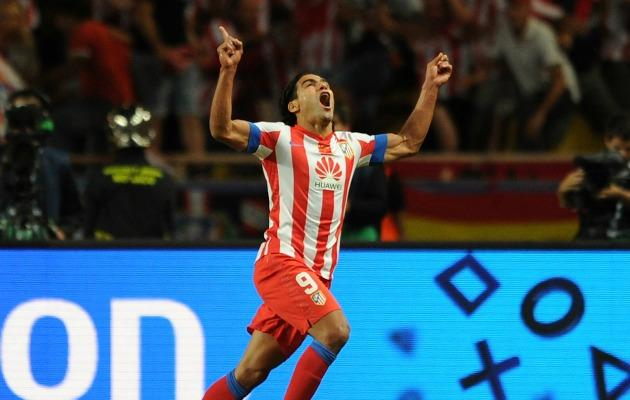 Falcao celebrating after scoring for Atletico Madrid. (Getty Images)