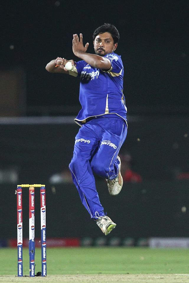 Siddharth Trivedi of Rajasthan Royals sends down a delivery during match 8 of the the Pepsi Indian Premier League ( IPL) 2013 between The Rajasthan Royals and the Kolkata Knight Riders held at the Sawai Mansingh Stadium in Jaipur on the 8th April 2013..Photo by Shaun Roy-IPL-SPORTZPICS..Use of this image is subject to the terms and conditions as outlined by the BCCI. These terms can be found by following this link:..https://ec.yimg.com/ec?url=http%3a%2f%2fwww.sportzpics.co.za%2fimage%2fI0000SoRagM2cIEc&t=1498722262&sig=fygN17HoAqN0zBqkGvsMFg--~C