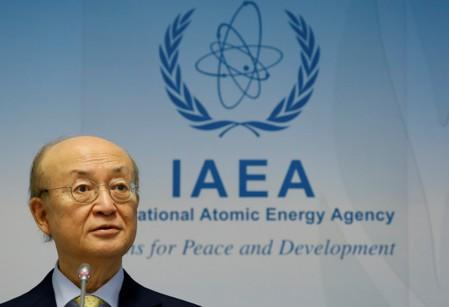 FILE PHOTO: IAEA Director General Amano addresses a news conference at the IAEA headquarters in Vienna