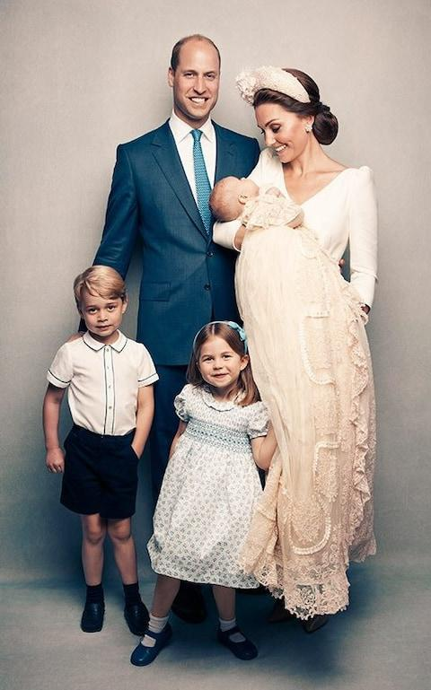 The Cambridges, in their first official portrait as a family of five - Credit: Matt Holyoak
