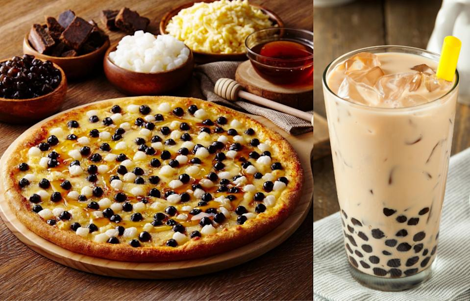 Domino's (pictured) as well as Pizza Hut in Taiwan both have bubble-tea-inspired brown sugar boba pizza on their menu. (Photos: Domino's Taiwan, Getty Images)